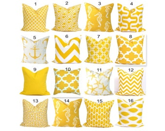Yellow Pillows.Pillow Cover, Decorative Pillow, Yellow Throw Pillow, Pillows, Accent Pillow, Pillow Covers, All Sizes, Yellow Euro, Cushion