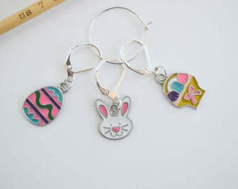 Easter Progress Keeper Set Easter Egg Bunny and Easter Basket Charms Knitting Notions Crochet Sewing Notions Gift Ideas