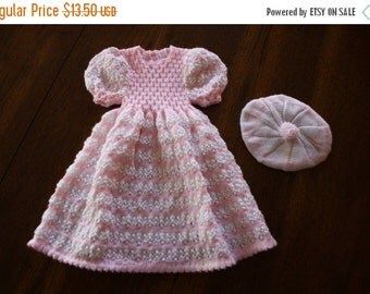 ON SALE Vintage knit baby dress and tam / pretty in pink and cream 2 piece set / baby girl newborn 0 to 6 months