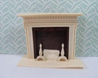 Vintage Renwal Fireplace, Ideal Marx Dollhouse Fireplace,  Dollhouse Living Room Fireplace, Renwal White Brown Living Room Fireplace