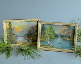 Vintage Cabin Prints Mountain Prints Waterfall Print Nature Prints Camping Prints Pair of Mountain Prints Nature Lovers Gift