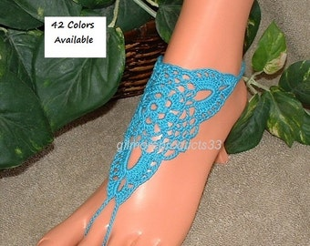 Barefoot Sandals Beach Wedding Shoes Foot Jewelry Anklet Barefoot Sandal Shoes SIZED Barefoot Sandles Crochet Footless Sandle Something Blue