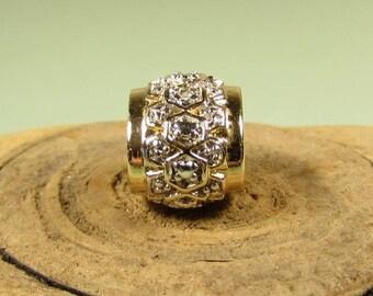 10k Gold Diamond Slide Pendant - Vintage Plated 925 Bead