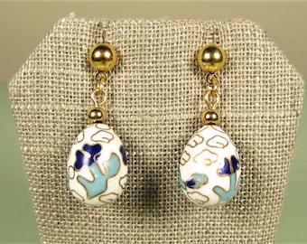Blue Enamel Flower Earrings - Vintage Cloisonne White Dangle Egg Shape Pierced