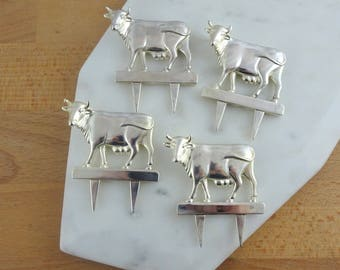 Vintage Silver Metal Cow Cheese Forks | Figural Cheese Forks | Set of 4
