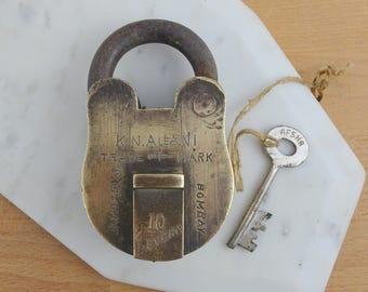 Large Vintage Working Padlock WITH Key,  Antique 10 Lever Lock,  K. N. Ajani Brass Padlock