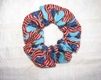 American flag patriotic blue fabric Hair Scrunchie, women's accessories, USA scrunchies, red white blue, Americans, United States