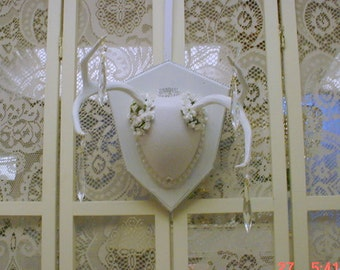 Mounted Deer Antlers Roses Crystals Painted White Shabby Chic Wall Decor OOAK