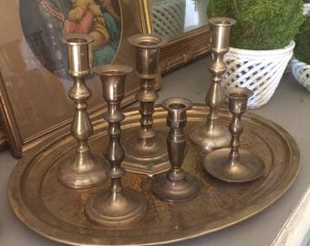 Instant Collection Vintage Brass Candlestick Holders Brass Candle Holder Set Oval Hammered Brass Tray