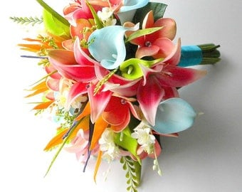 Tropical  Real Touch Beach Wedding Bridal Bouquet in Turquoise, Hot Pink, Orange and Lime