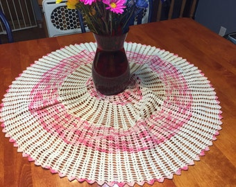 Vintage 30 inch round Pink and Ivory hand crochet doily for crafts, shabby chic, housewares, linen, trim, valentines, by MarlenesAttic