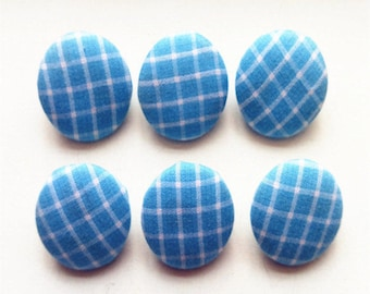 Sky Blue Grid Fabric Cover Button Shank Sewing Diy Accessories Buttons
