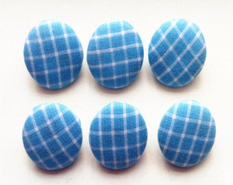 10 Piece Fabric Cover Button Blue Grid Sewing Button Covered Buttons Diy Accessories Shank Supplier Buttons