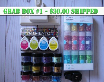 Destash, Grab Box, Scrapbooking Supplies, Card making supplies, embellishments, Pearl Ex, inks, stamping supplies, Martha Stewart punches