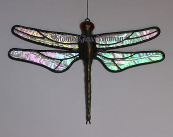 Stained Glass DRAGONFLY Suncatcher, Aurora Borealis Clear Rainbow Iridescent Wings, USA Handmade, Dragonfly Suncatcher, Glass Dragonfly