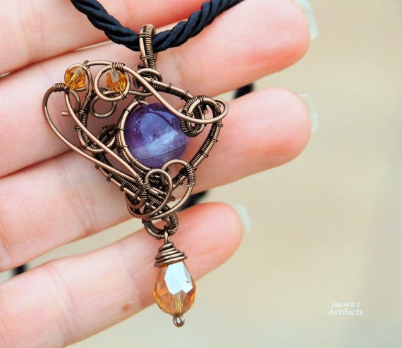 Amethyst pendant gemstone necklace wire wrapped jewelry Gift for girlfriend women mother Purple steampunk anniversary Christmas gifts ooak