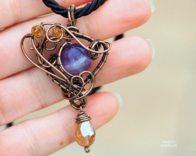 Amethyst gemstone necklace wire wrapped pendant Gift for girlfriend natural stone Purple Vintage retro unusual unique jewelry
