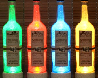Basil Hayden's Kentucky Bourbon Whiskey Color Changing RGB LED Remote Controlled Bottle Lamp Bar Light