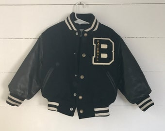 Vintage Childs Baseball Jacket with Leather Sleeves