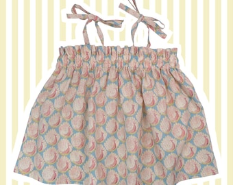 Girl's Liberty Print Suntop | Baby to 10 Years | Pink Peacocks