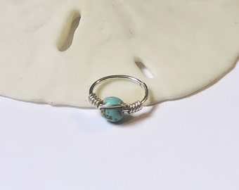"""Cartilage Ring 20G or 18G 8mm 5/16"""" - 10mm 3/8"""" Turquoise Magnesite - Sterling 14K Yellow or Rose Gold Fill - Helix Rook Tragus Endless Hoop"""