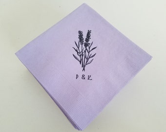 Lavender Sprigs Personalized Rustic Wedding Cocktail Napkins With Couples Initials - Set of 50