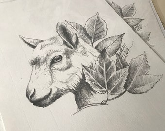 Goat & Leaves Pencil Portrait Drawing