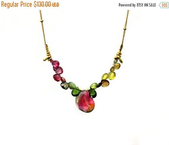 20% off. Watermelon Tourmaline Slice Necklace. Unique Multi Tourmaline Collar. Gold filled Chain and Clasp.