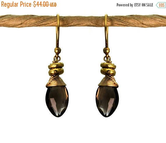 20% off. Wire Wrapped Smoky Topaz Earrings with Tiny Nuggets. Also in Labradorite. Silverite, Gold or Silver E-1964-1