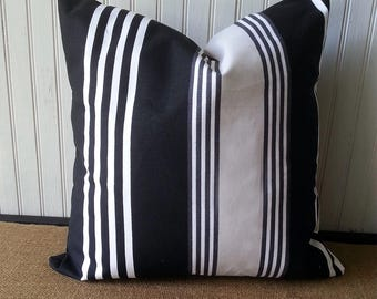 Black And White Stripe Pillow - 18 x 18 Pillow Cover - Black and White Pillow - Modern Pillow -  Contemporary Decor - Modern Decor