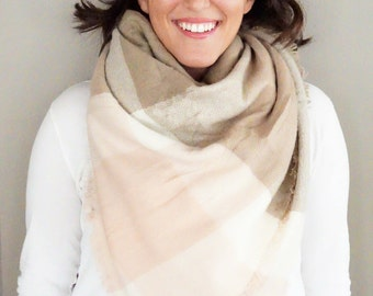 Light Pink and Brown Large Plaid Comfy Blanket Scarf