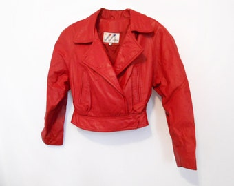 Red Leather Jacket/ Biker Jacket/ Motorcycle Jacket/ 80s Leather Jacket/ 90s Leather Jacket/  Hipster Jacket/ Leather Jacket Small/ Womens