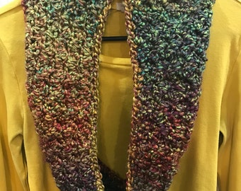 Falling Leaves Hand-Crocheted Multicolored Cowl
