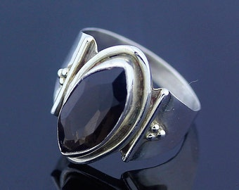Smokey Topaz Ring - 925 Sterling Silver - US Size 7