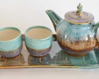 IN STOCK, Handmade Ceramic Tea Set with Tray, Brown Green Tea Pot with Tea Cups, Holiday Gift Tea Set, 4 Piece Pottery Tea Set