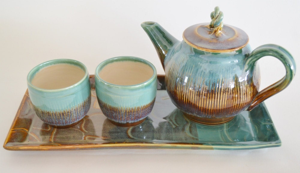In stock handmade ceramic tea set with tray brown green tea Green tea pot set