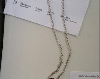 Silver necklace with Aquarmarine