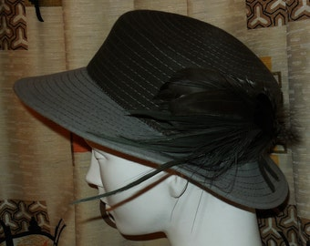 SALE Vintage Felt Hat Women's Round Hat Feathers Khaki Two Tone High Society 60s 70s Women's Hat Large Brim Stitching 21 in.