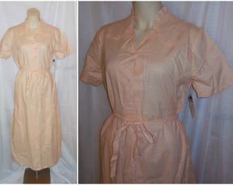 Unworn Vintage 1930s Nightgown Long Cotton Nightgown Peach w Red Polkadots Sash Tie Ruffles German Art Deco Country M L chest 40