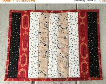 ON SALE Chickadee Table Topper  Winter Christmas Holiday Fabric