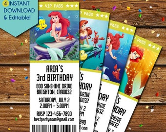 Little Mermaid Invitations, Princes Ariel Invitations, Little Mermaid Birthday Invitation, Little Mermaid Invite, Little Mermaid Party