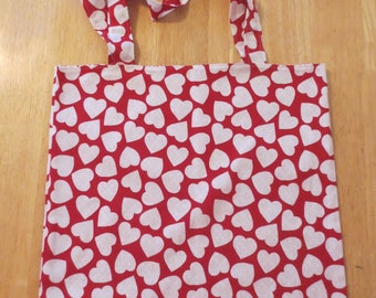 Cotton Grocery Tote, Red and White Hearts