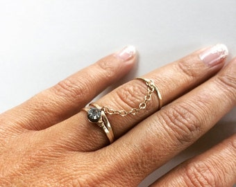 HOLIDAY SALE Midi Ring Set - Dainty Chain Ring Set - Gold Chain Rings - Stacking Rings - Trio Rings - Crystal Ring