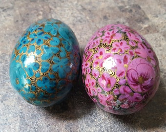 Pair of Decorative Floral Eggs, Blue and Violet