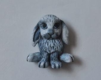 OOAK Blue Sable Point Lop Rabbit Magnet