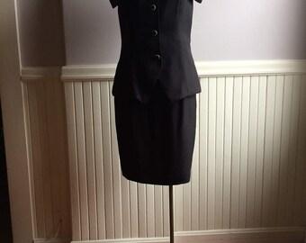 Women's Vintage Clothing / 1990's 2Pc. Set / Formal Dress Set / Alex E-V-E-N-I-N-G-S Label / Size 6 /Black Tie Formal Attire / Evening Wear