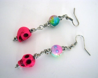 Sugar Skulls Day of the Dead Bubble Gum Pink Blue  Earrings