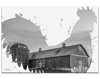 Animal Silhouette 'Rooster Farm Gray' by Adam Schwoeppe - Landscape Photography Western Farm Photo on White Metal