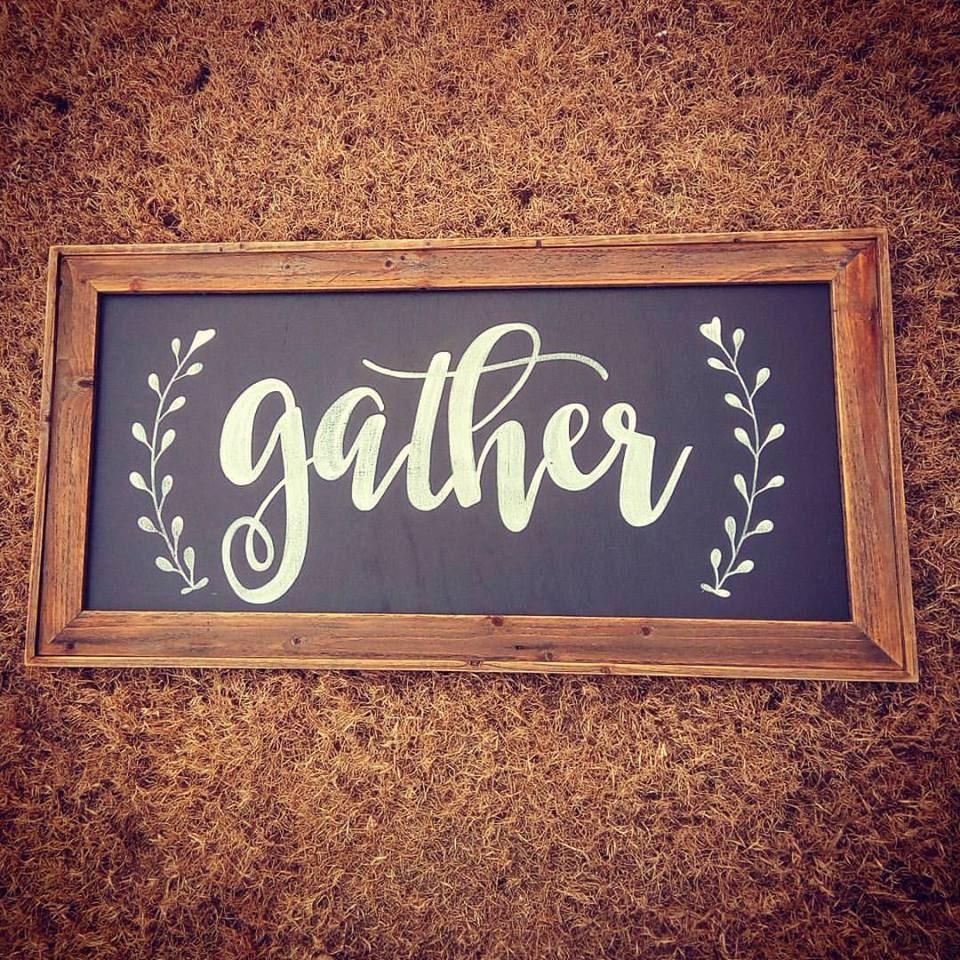 GATHER Sign / Large Wall Art / Kitchen Decor / Fixer Upper
