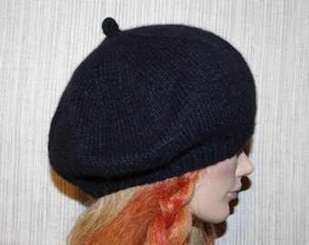 Black Pure 8 Ply Cashmere  Thick  Hand Knit Soft Warm Beret